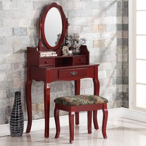 Ribbon Wood Makeup Vanity Set with Mirror