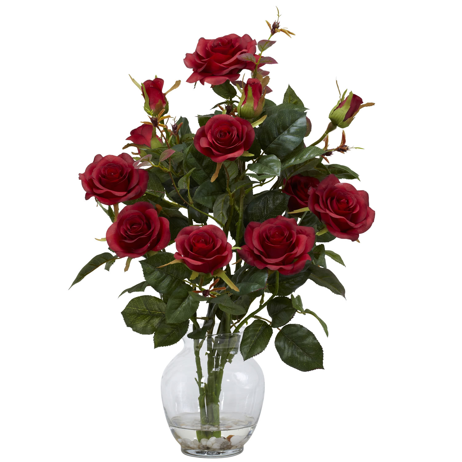 Rose Bush Silk Flower Arrangement in Red with Vase