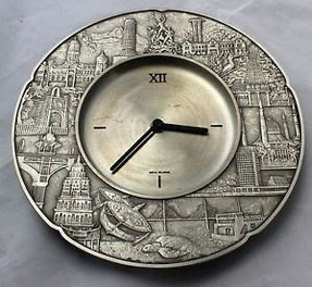Royal selangor wall clock pewter various far east images on