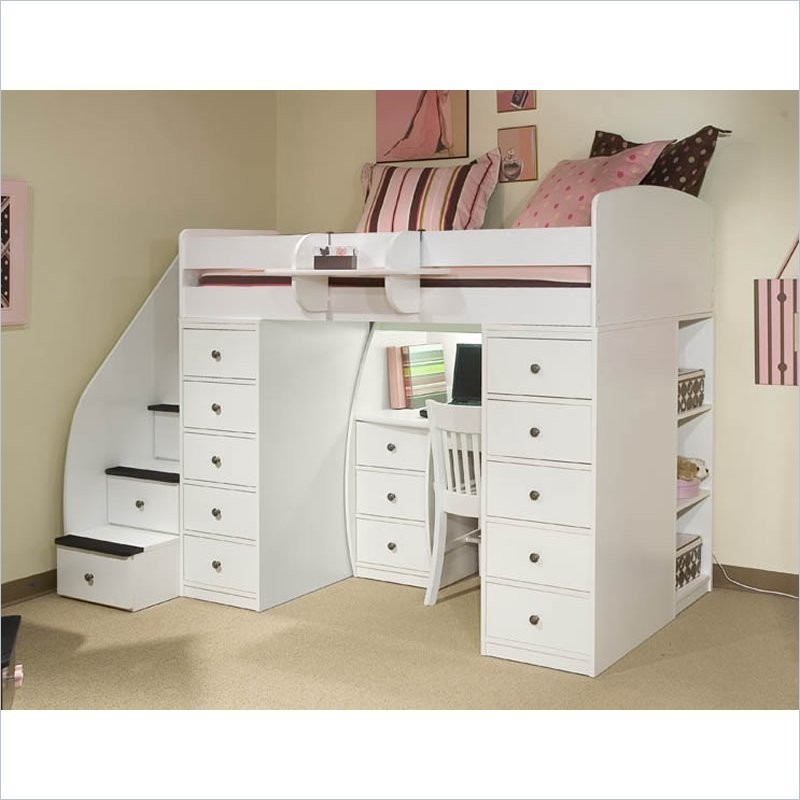 Sierra Twin Space Saver Loft Bed with Desk & Storage