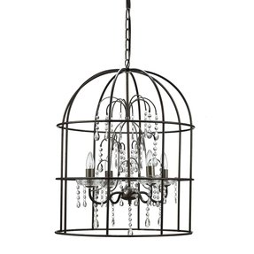 Turn of the Century Metal Birdcage 4 Light Chandelier