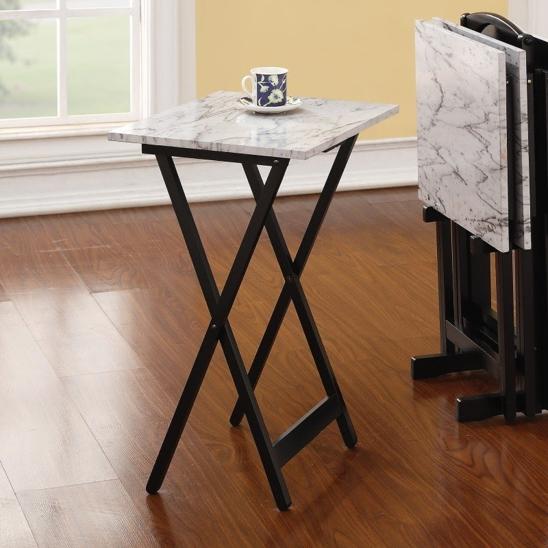 Portable And Foldable Tray Tables Set, Including Four Tables And One  Storage Stand With A Handy Handle. Made Of Wood And Faux Marble (the Tops)  In Black And ...