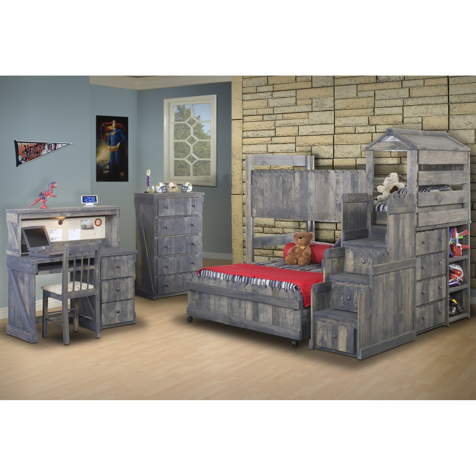 Twin over Full Convertible Toddler Customizable Bedroom Set