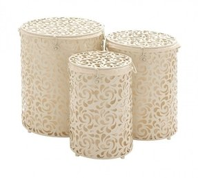 3 Piece The Brit Metal Round Hamper Set