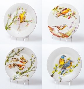 4 Piece Decorative Birds Dessert Plate Set