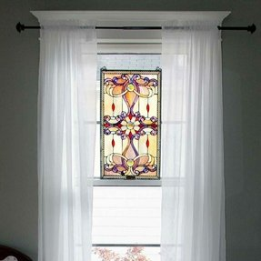 Brandi Stained Glass Window/Wall Panel in Amber