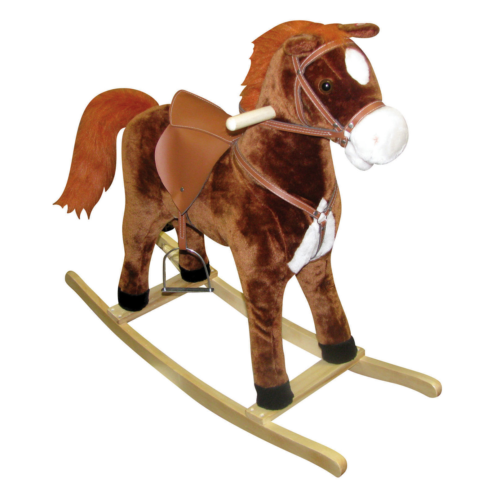 Funny Wooden Toy Hanging on a Spring in the shape of Horse