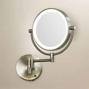 Battery operated wall mounted lighted makeup mirror foter howell cordless led lighted wall mount mirror aloadofball Gallery