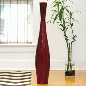 Red Bamboo Floor Vase