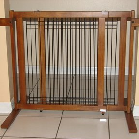 Tall Freestanding Wood Wire Pet Gate