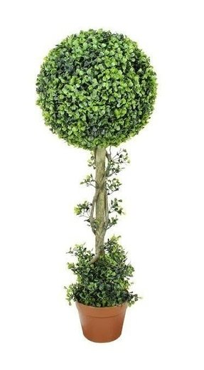 Two-Tone Artificial Boxwood Ball Topiary Tree in Pot