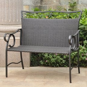 Valencia Iron Wicker Resin Patio Loveseat Bench