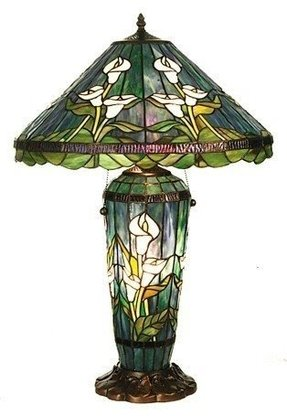 "26"" H Tiffany Calla Lily Lighted Base Table Lamp"