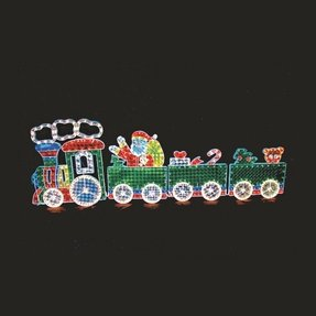 4 car holograph train christmas decoration with motion
