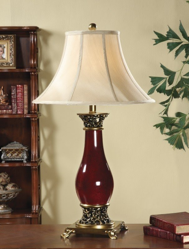 "Antique 31"" H Table Lamp with Bell Shade"