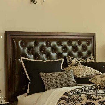 King Size Old World Rustic Brown Leather headboard for Bed with Brass Nail Head Trim