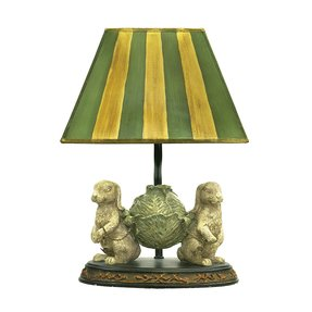"Bunnies Bearing Dinner 14"" H Table Lamp with Empire Shade"