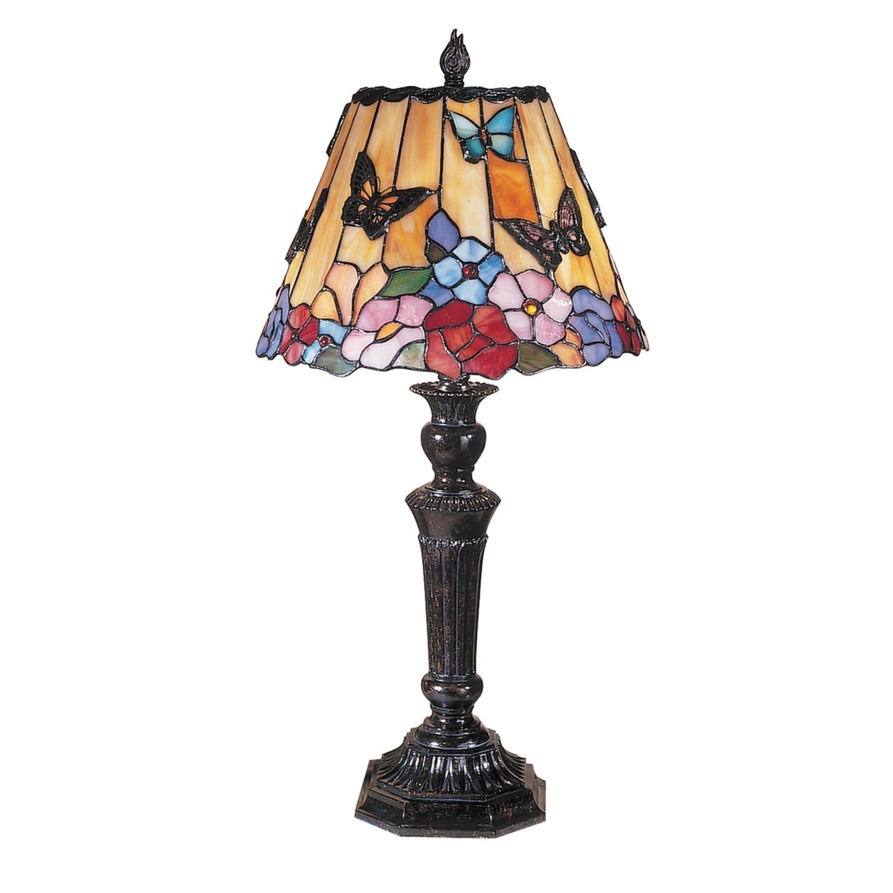 "Butterfly / Peony Tiffany 24"" H Table Lamp with Empire Shade"