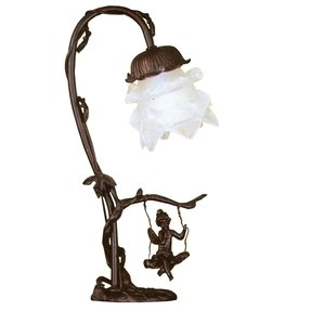 "Cherub On Swing 16"" H Table Lamp with Bell Shade"