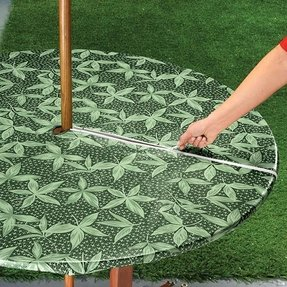 Fern umbrella hole zip round vinyl fitted dining tablecloth patio