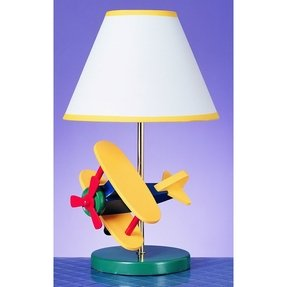 "Juvenile Airplane 15"" H Table Lamp with Empire Shade"