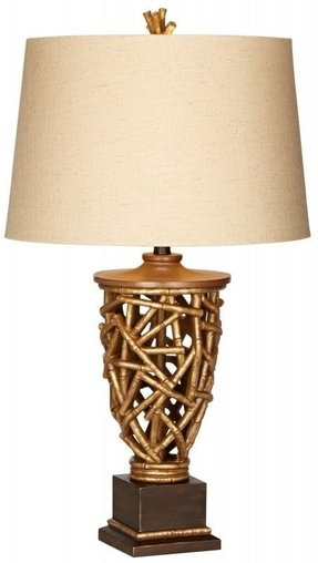 "Kathy Ireland Bamboo Slat 31"" H Table Lamp with Empire Shade"