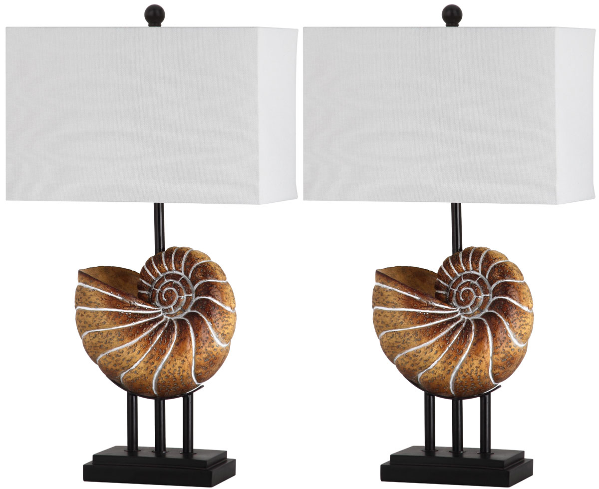"Nautilus Shell 28"" H Table Lamp with Rectangular Shade (Set of 2)"
