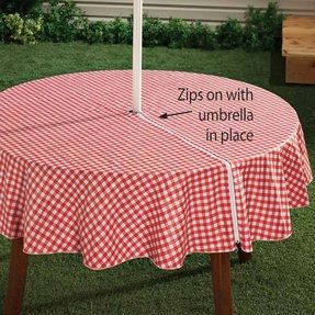 Patio furniture cover with umbrella hole