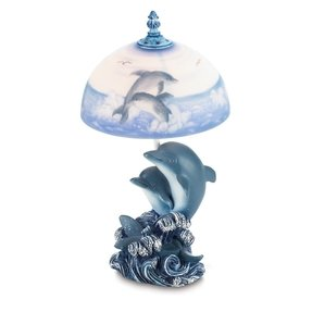 "Playful Dolphins 15"" H Table Lamp with Bowl Shade"