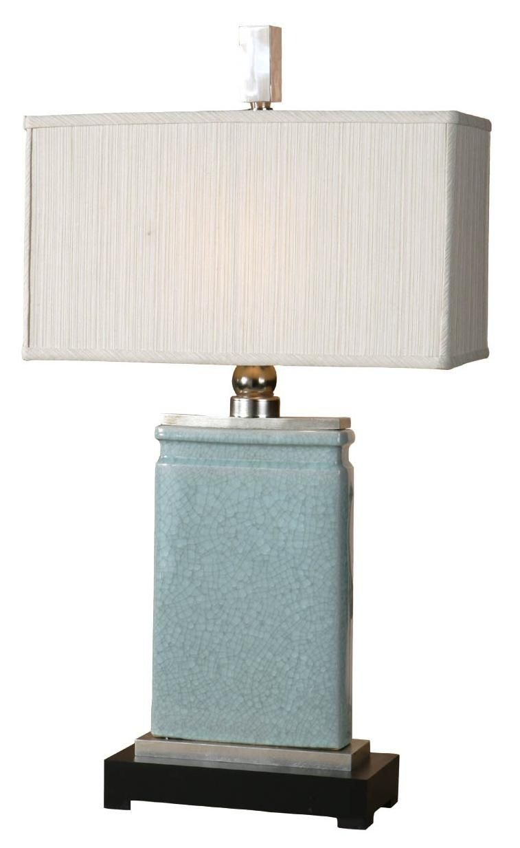 "Porcelain 33"" H Table Lamp with Rectangular Shade"