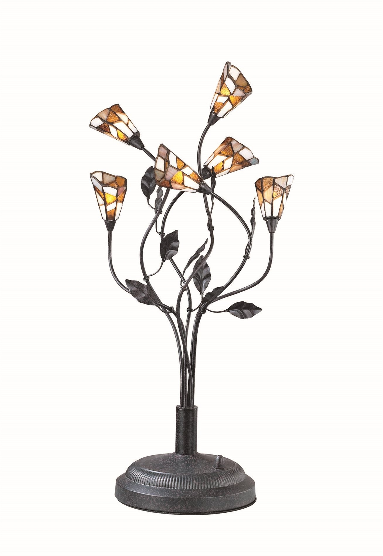 Six Light Tiffany Table Lamp with Novelty Shade