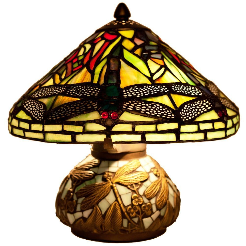 "Stained Glass Mini Dragonfly 10"" H Table Lamp with Bowl Shade"