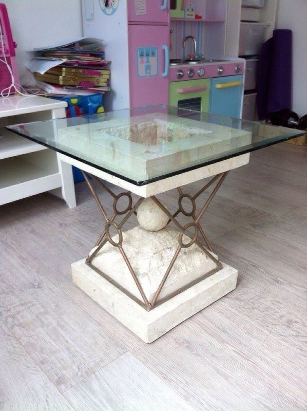 Stone base glass top coffee matching side tables