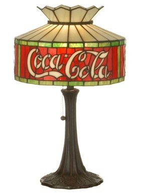"Tiffany Americana Recreation Coca-Cola 20"" H Table Lamp with Drum Shade"