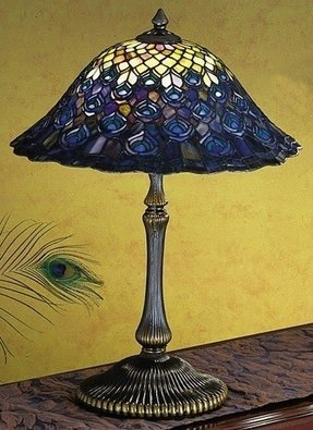 "Tiffany Peacock Feather 22"" H Table Lamp with Bowl Shade"