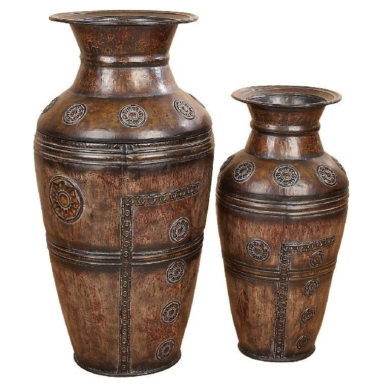 Toscana 2 Piece Carved Vase Set