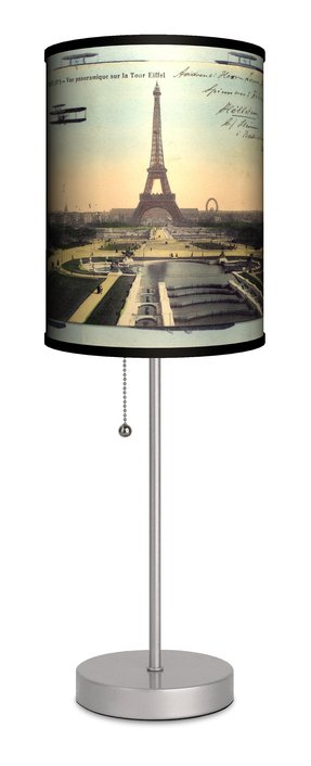 "Travel Paris Eiffel Tower Postcard 20"" H Table Lamp with Drum Shade"