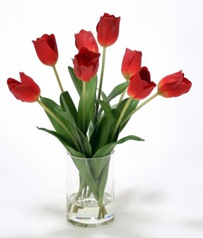 Waterlook Silk Tulips in Glass Cylinder