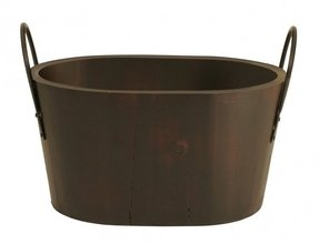 Wood Tub with Metal Handle