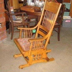 Antique Oak Glider Rocker Circa 1878 3