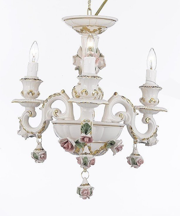 Authentic Capodimonte 3 Light Mini Chandelier