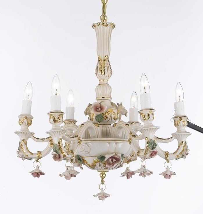 Authentic Capodimonte 6 Light Candle Chandelier