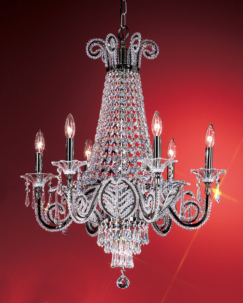 Beaded Leaf 6 Light Crystal Chandelier