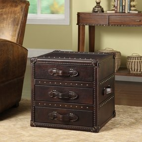 General brown 3 drawer leather end table see price in