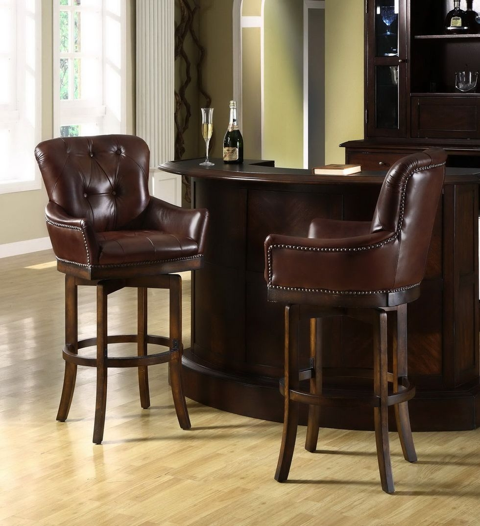 Genial Leather Top Grain Bar Stools 4