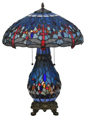 "Tiffany Hanginghead Dragonfly Lighted Base 25.5"" H Table Lamp with Bowl Shade"