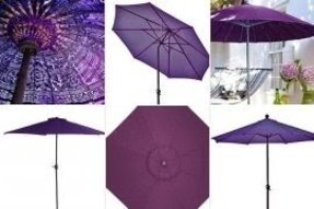Purple patio umbrellas