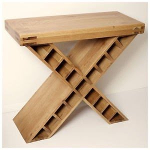 Details About Rustic Oak Console Table With Wine Rack Oslo031