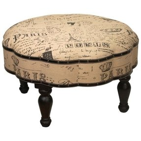 French country french script fabric paris round linen ottoman 1