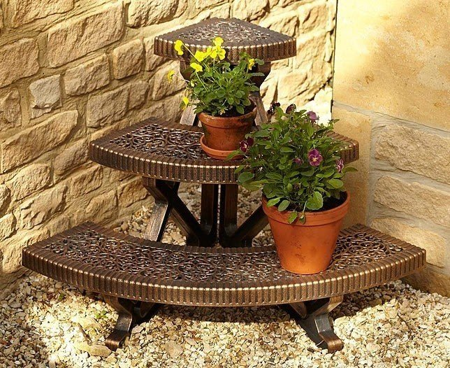 Home ornamental 3 tier corner plant stand